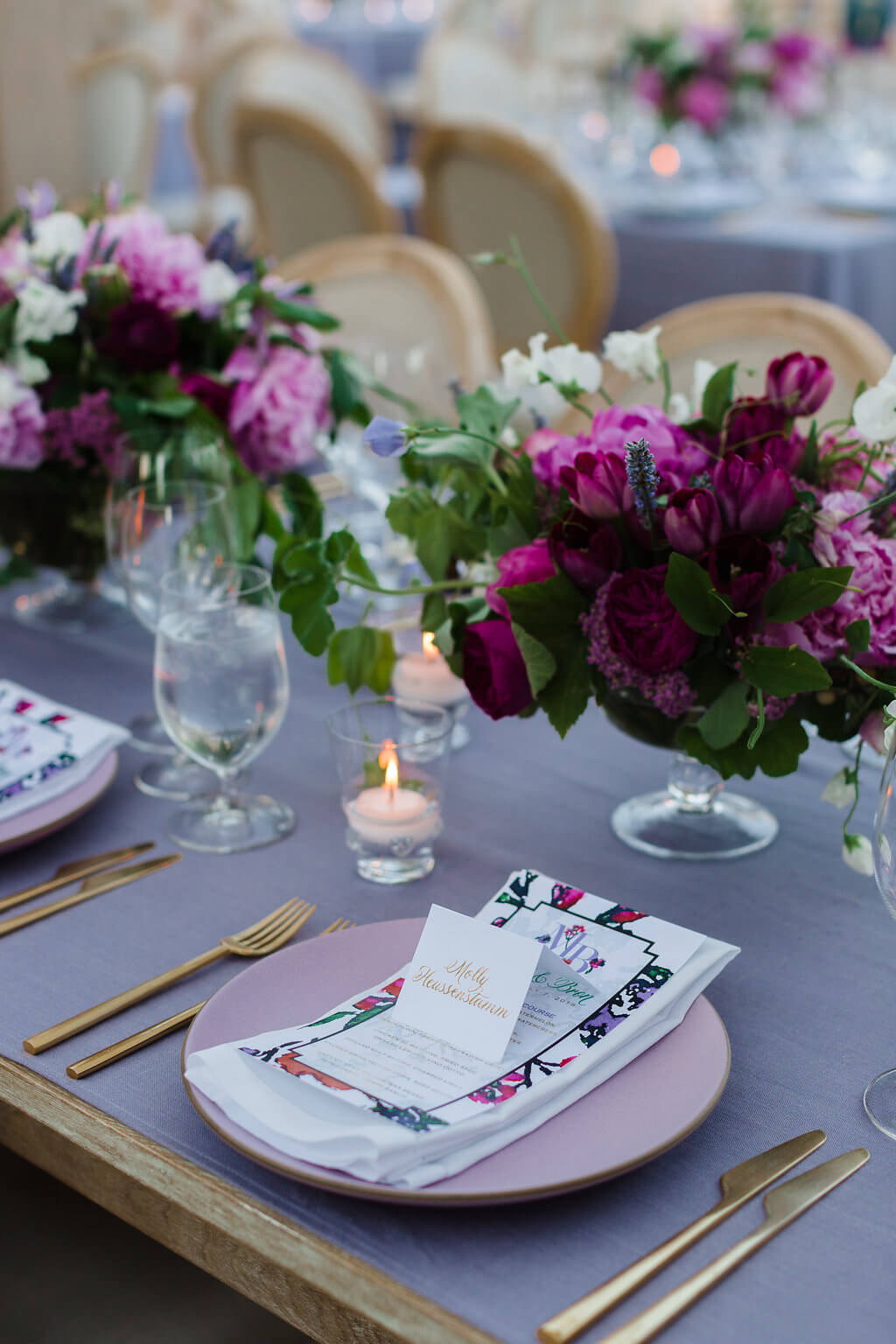 bright floral themed wedding tablescape