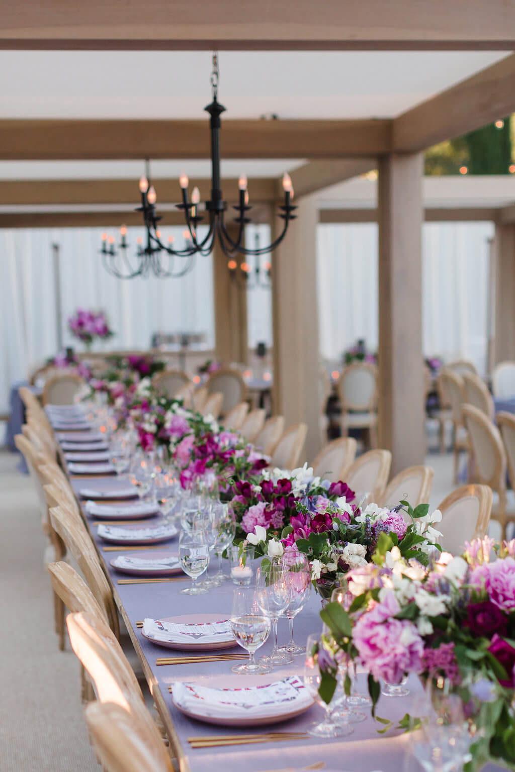 long tables for seated dinner at Napa Valley wedding reception