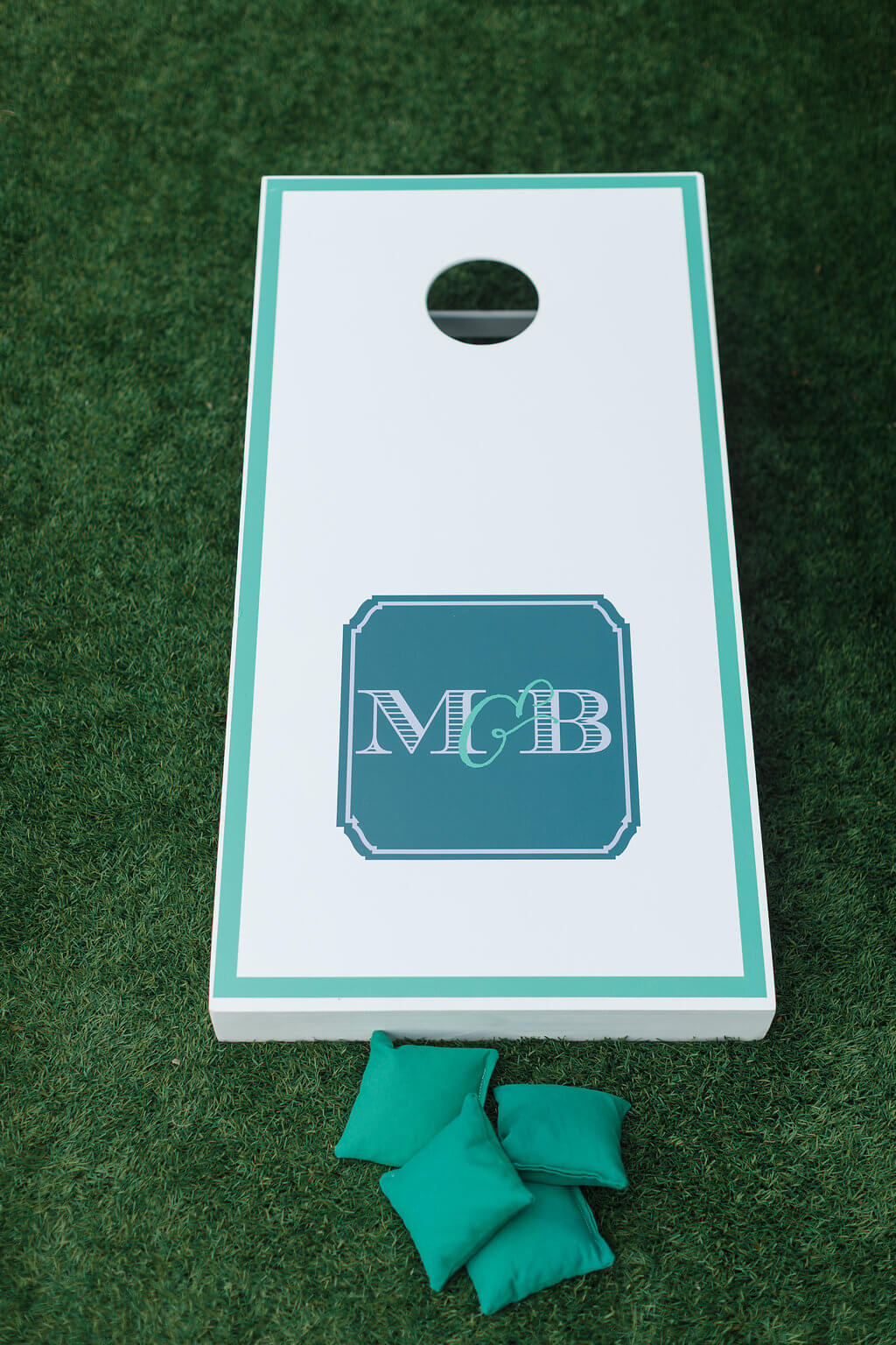 monogrammed cornhole boards for wedding