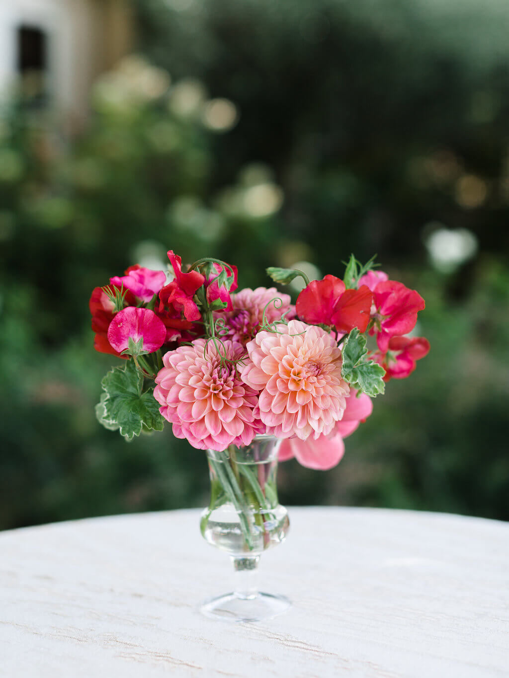 pink and red small floral arrangement