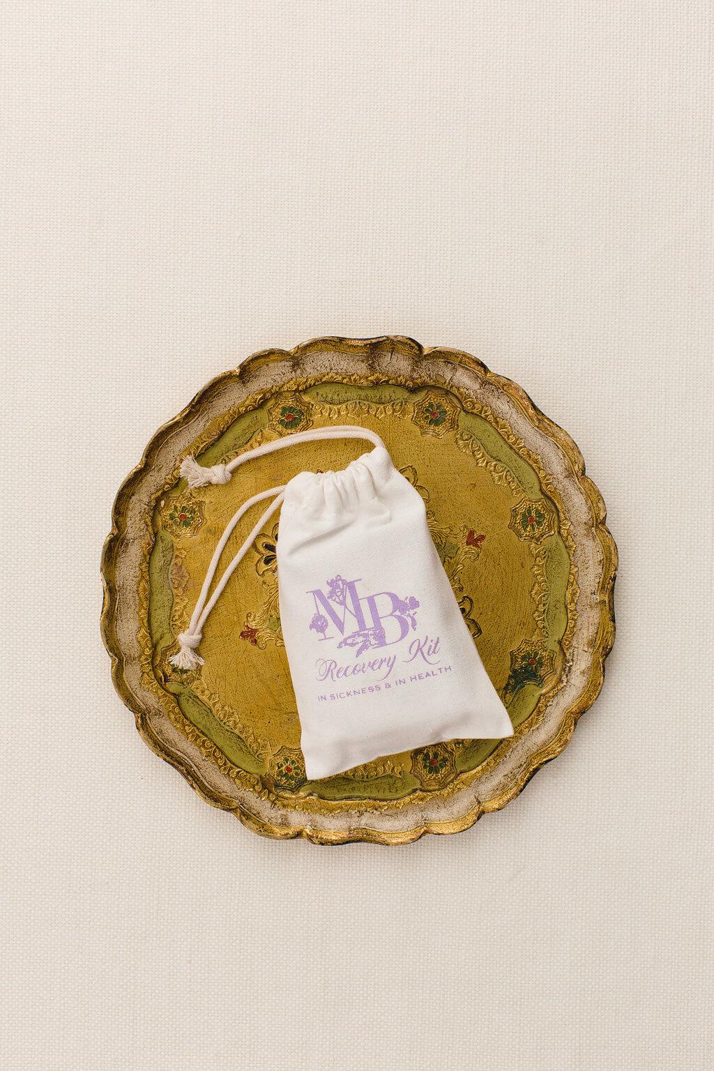recovery kit drawstring bag with custom wedding monogram