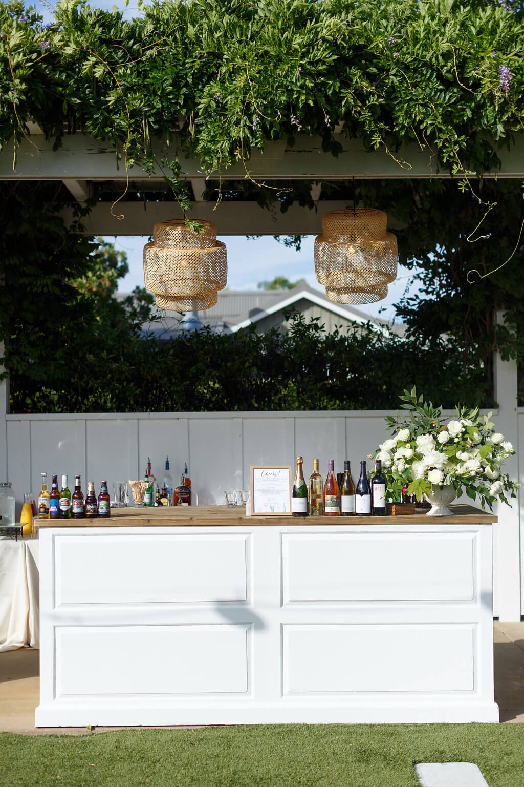 white bar at Napa Valley wedding