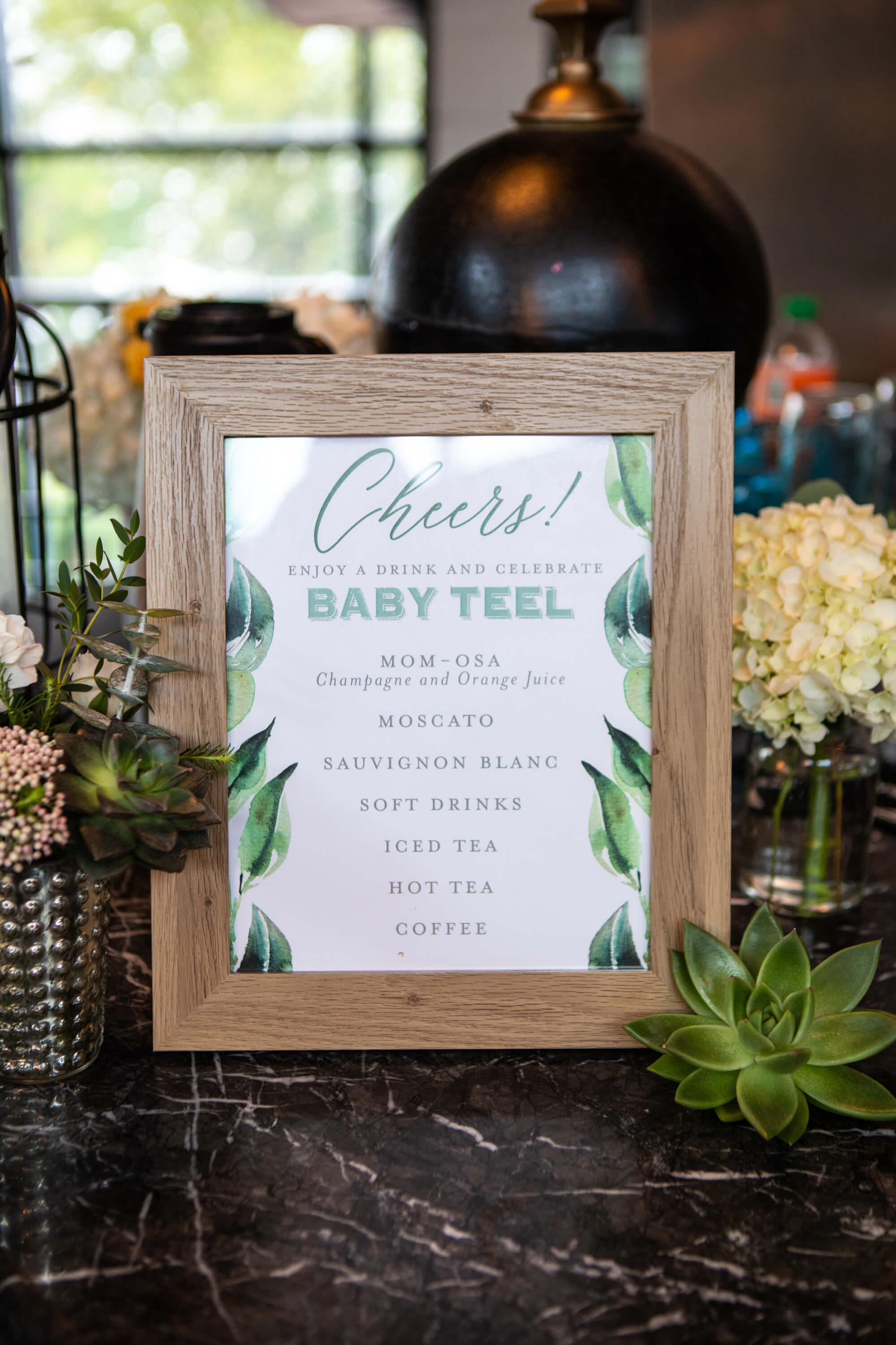 Bar menu at succulent baby shower