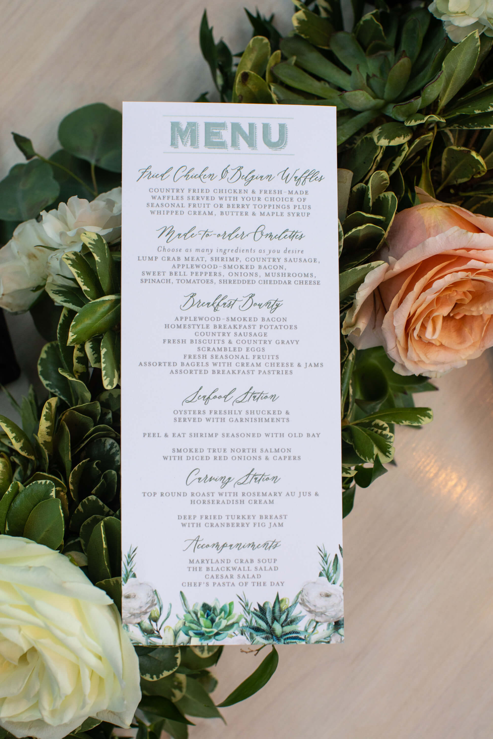 Brunch menu at succulent baby shower