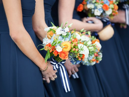 Orange and Navy Fall Nantucket Wedding