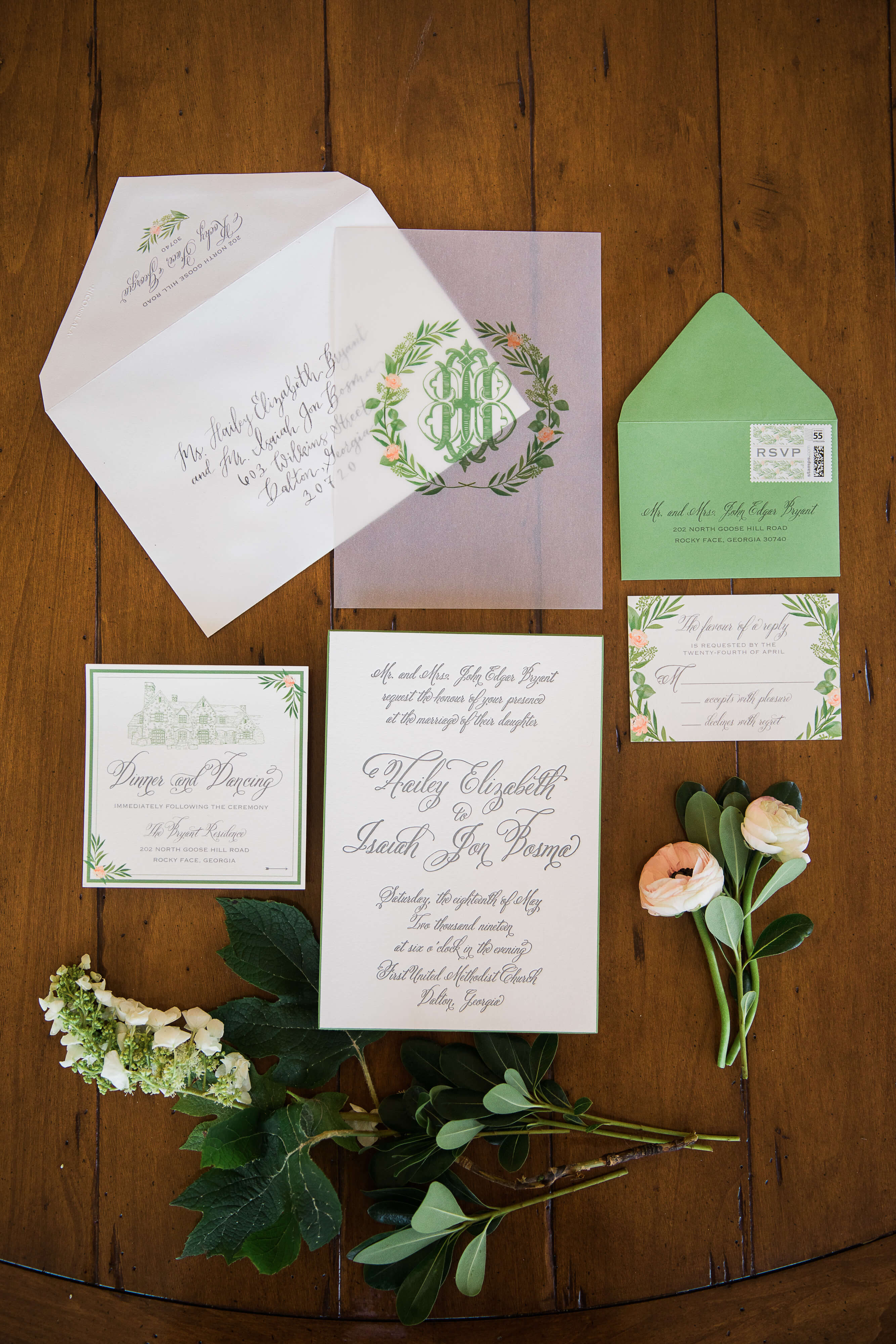 southern watercolor wedding suite with interlocking monogram