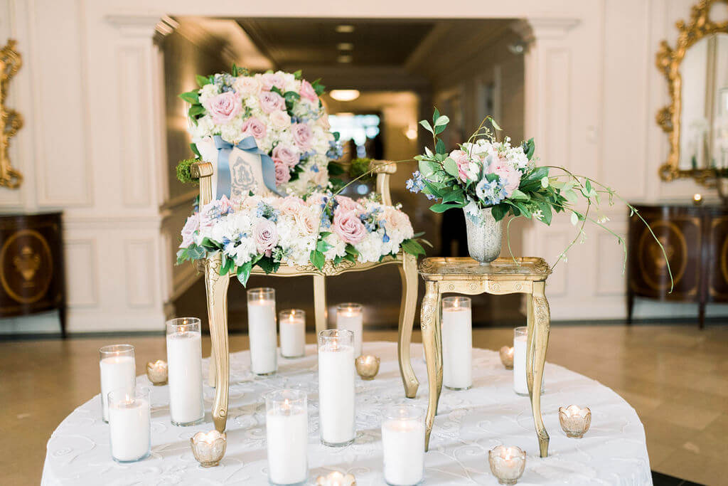 Romantic wedding reception flowers