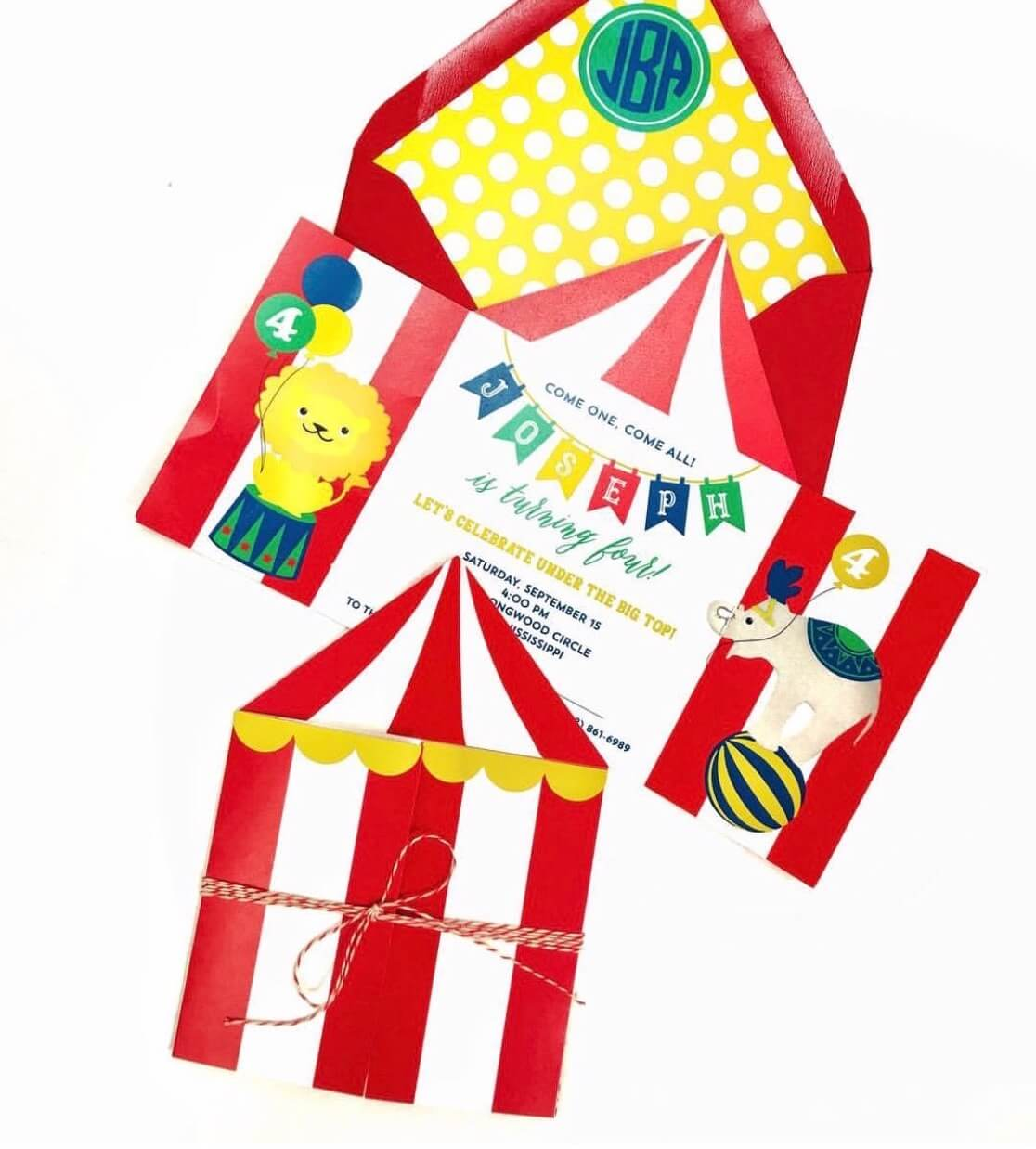 Big top birthday invitation