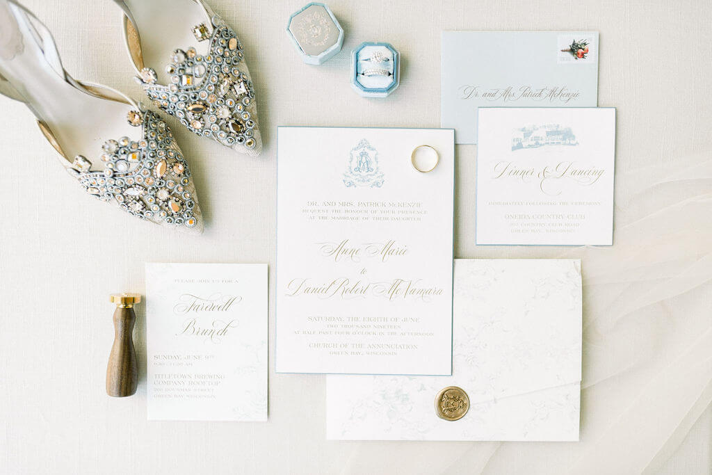 Dusty Blue and Gold Traditional Wedding Invitation