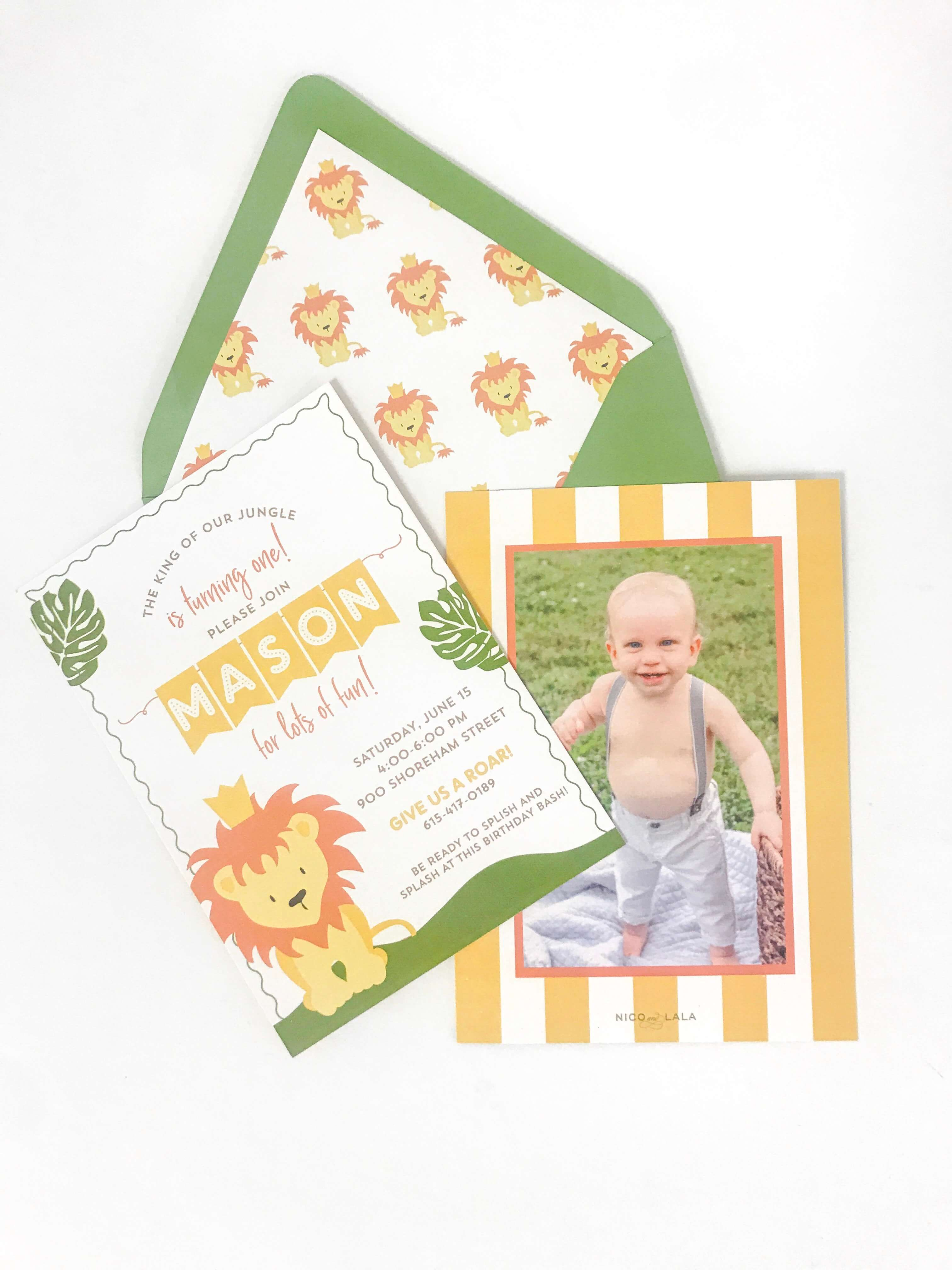 Jungle themed birthday invitation