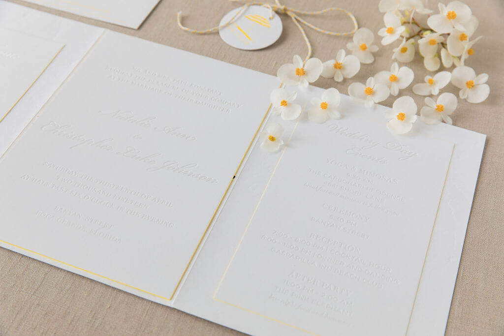 White Wedding Invitation with Pop of Yellow