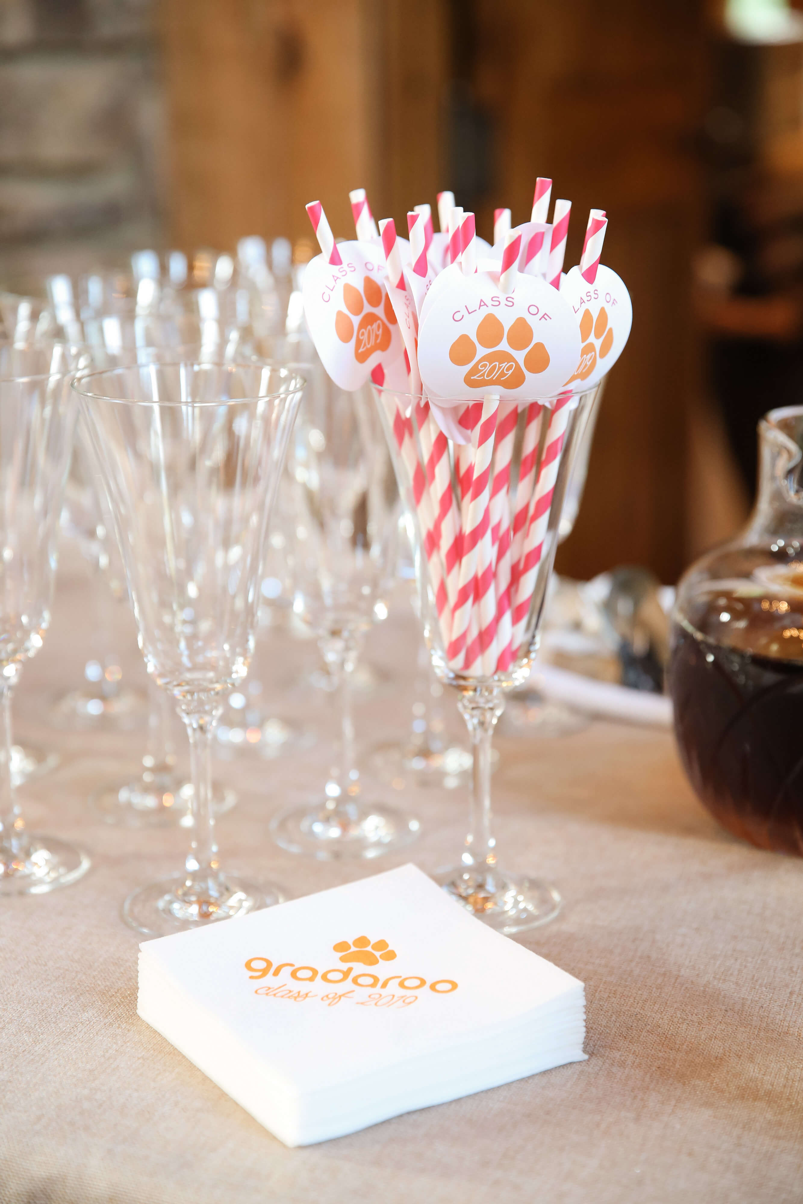 high school graduation party straws and napkins